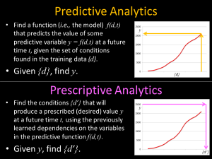 Predictive versus Prescriptive Analytics